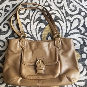Coach Tan Taupe Leather Campbell Belle Tote
